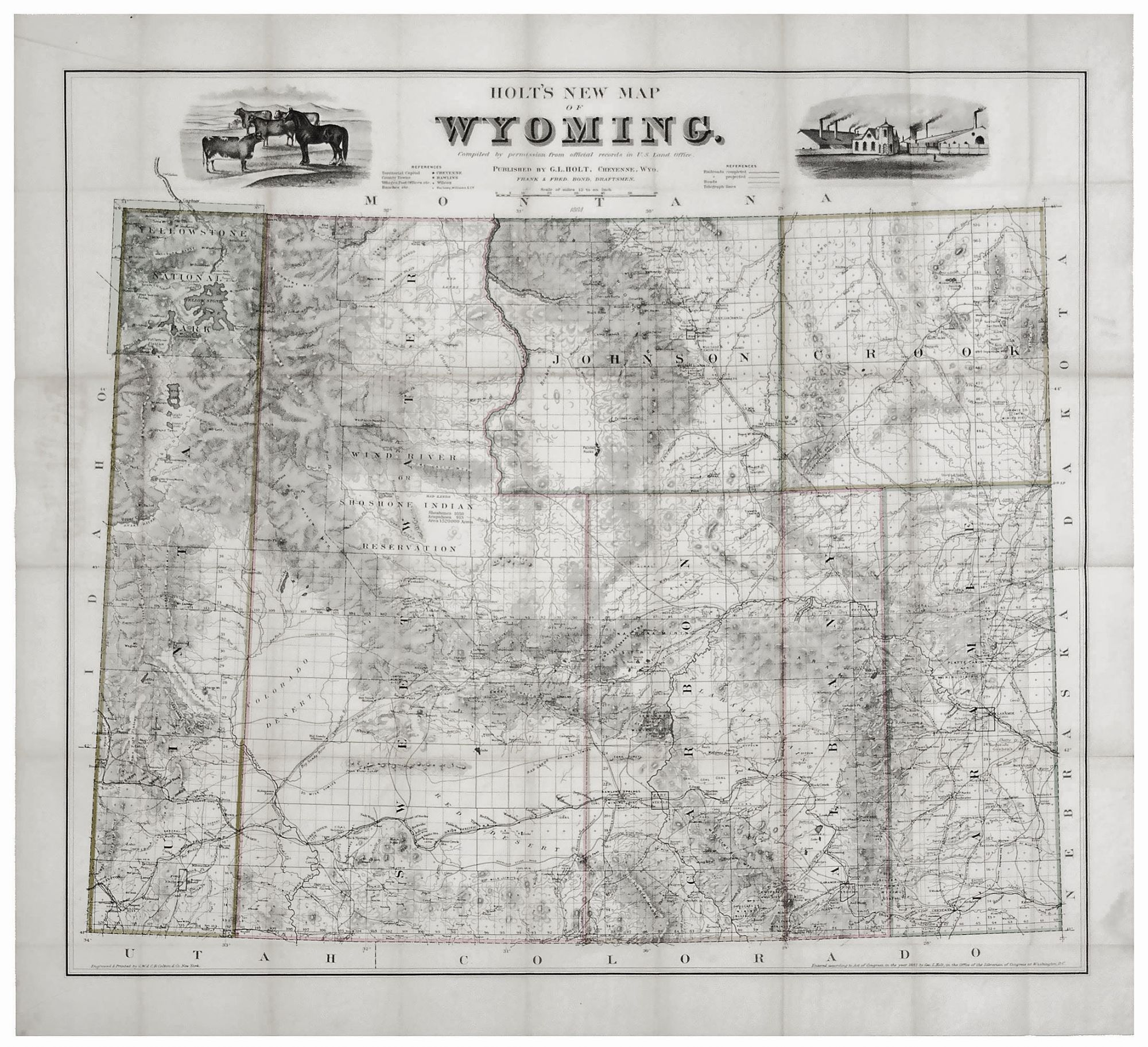 Holt S New Map Of Wyoming G L Holt