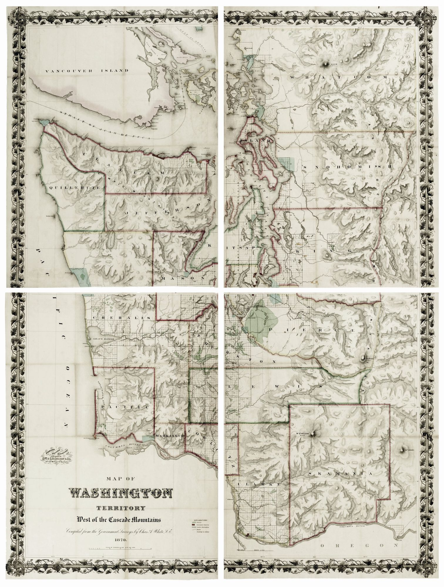 A Map of Washington Territory West of the Cascade Mountains by C  A / G  W   WHITE, C  B  COLTON on Martayan Lan