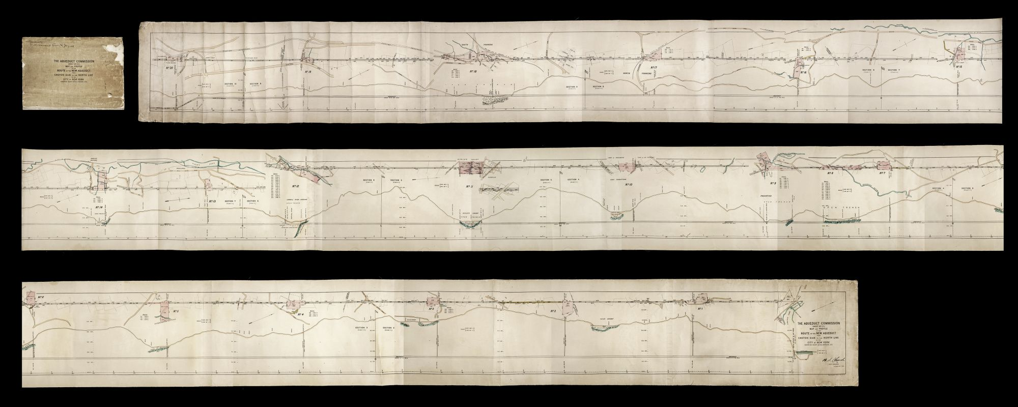 Map Of 287 New York.The Aqueduct Commission Sheet No 2 Map And Profile Of The Route Of The New Aqueduct From Croton Dam To The North Line Of The City Of New York