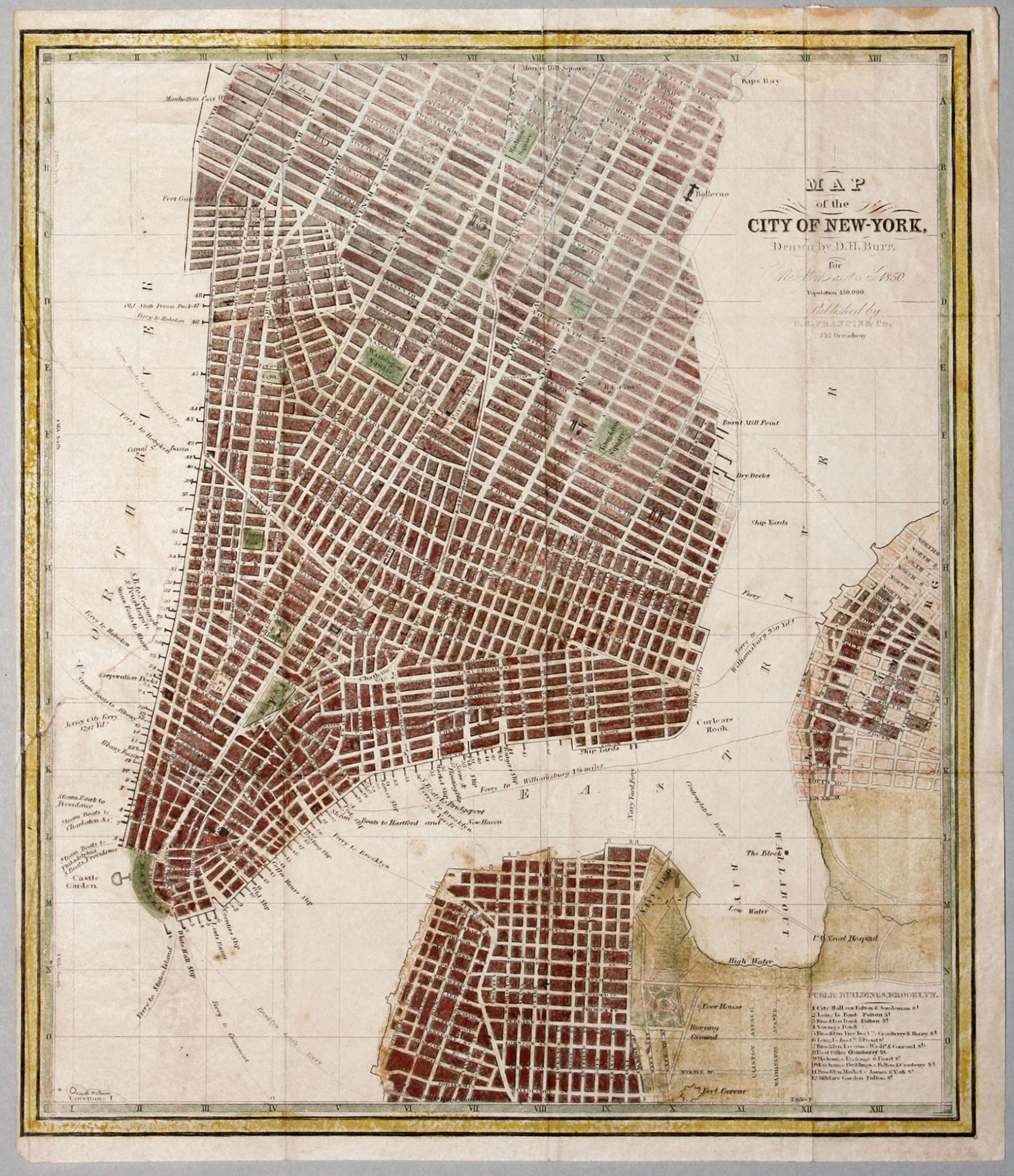 Map Of New York 1850.Map Of The City Of New York Drawn By D H Burr For New York As It