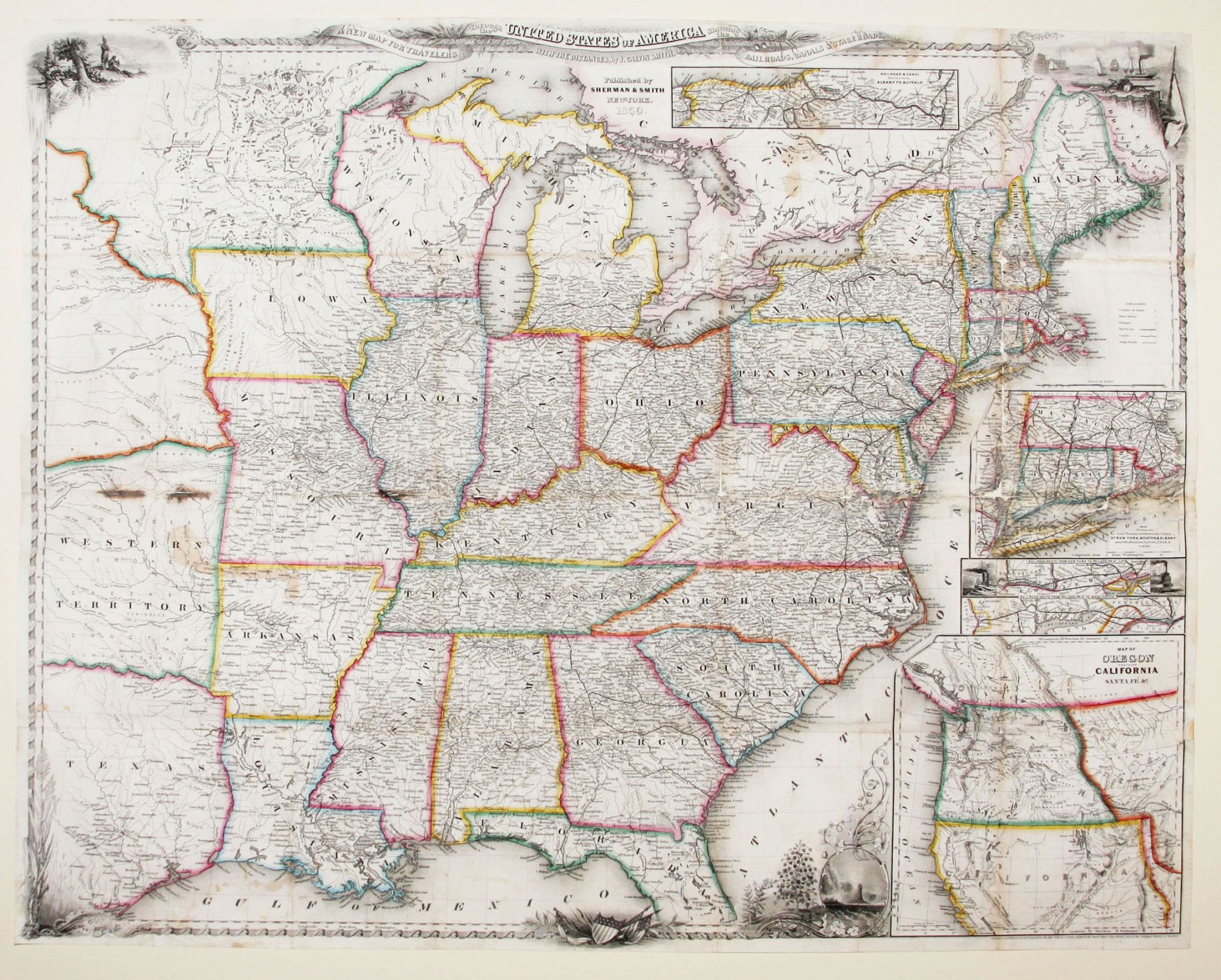 New Map Of America.A New Map For Travelers Through The United States Of America Showing The Railroads Canals Stage Roads By J Calvin Smith On Martayan Lan