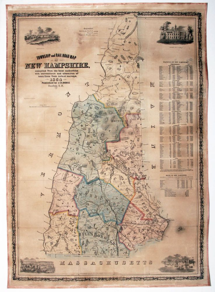 Township and Rail Road Map of New Hampshire . | J. R. DODGE