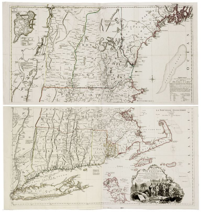 A Map of the most Inhabited part of New England… [Second title:] La Nouvell Angleterre en 4 Feuilles…1777. T./ LE ROUGE JEFFERYS, G. L.