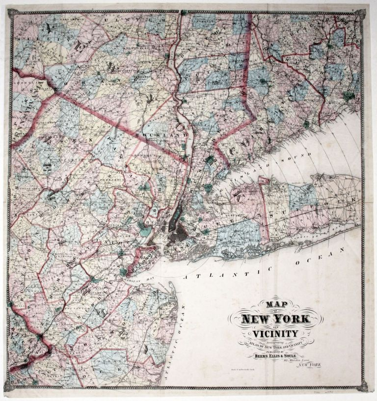 Map Of New York And Vicinity. ELLIS BEERS, SOULE.