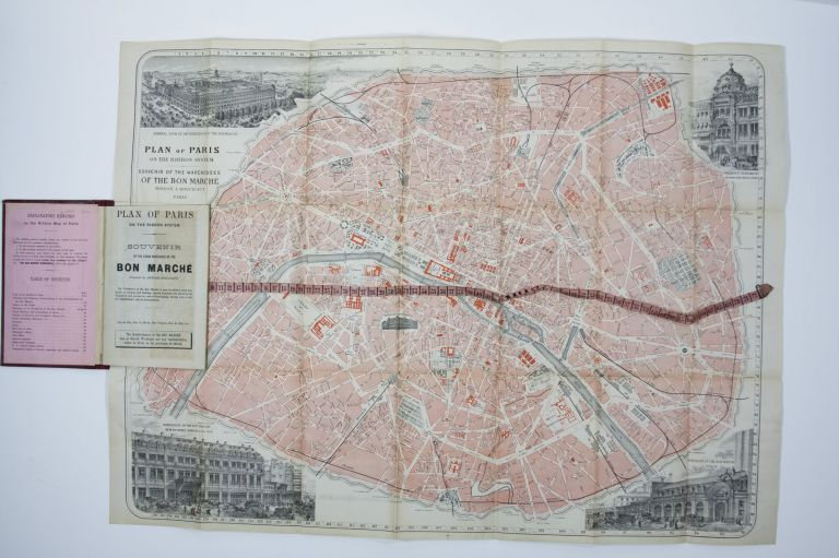 Plan of Paris on the Ribbon System Souvenir of the Grand Warehouse of the Bon Marche/ Plan De Paris A Ruban Indicateur Des Magasins Du Bon Marche. ANONYMOUS.