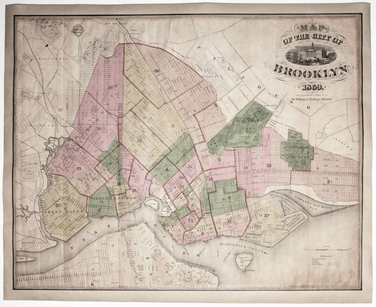 Map Of The City Of Brooklyn 1869. William G. A. BROWN / BISHOP, publisher.