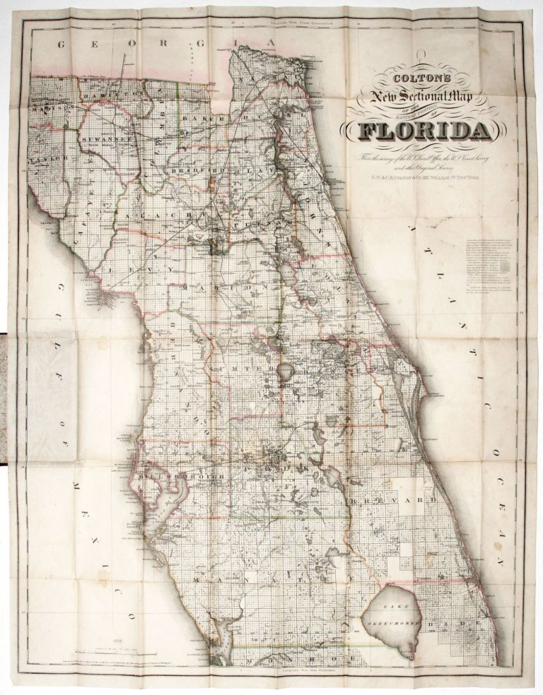 Colton's New Sectional Map Of The Eastern Portion Of Florida…. G W., C B. COLTON, CO.