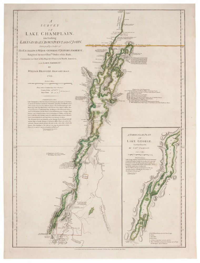 A Survey Of Lake Champlain, including Lake George, Crown Point And St. John. . . . [Inset:] A Particular Plan of Lake George . . W./ SAYER BRASSIER, R., J. BENNETT.