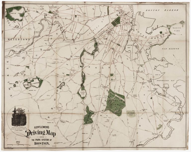 Gentlemen's Driving Map Showing The Park System Of Boston…First Edition. Frank C. MILES.