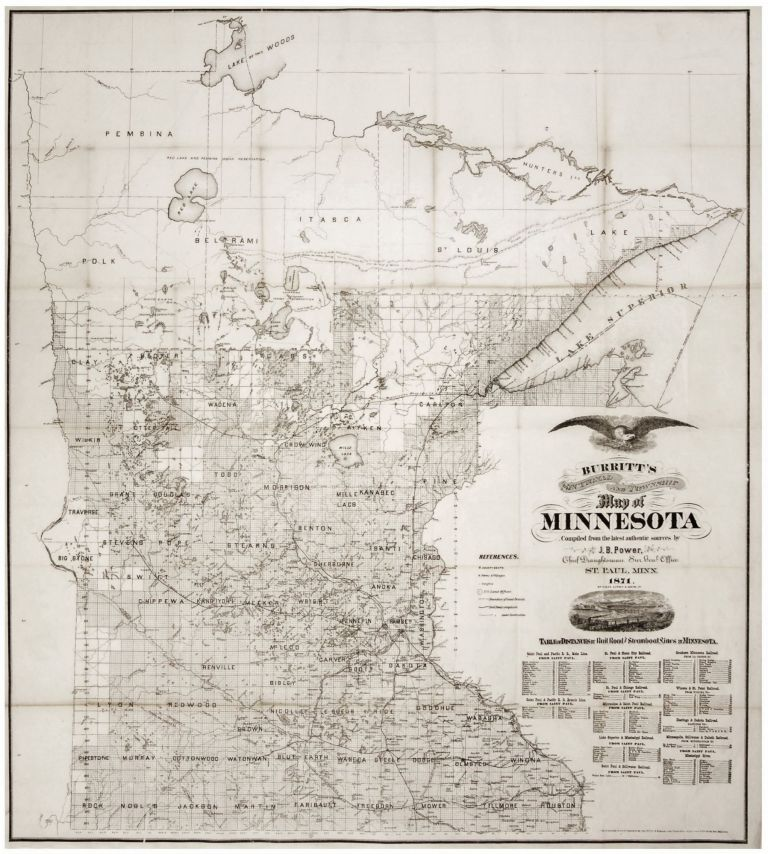 Burritt's Sectional and Township Map of Minnesota Compiled from the latest authentic sources by J.B. Power, Chief Draughtsman Sur. Genl. Office, St. Paul, Minn. 1870. . E. H. BURRITT.