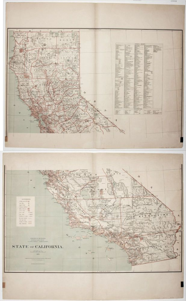 State of California. Published by the Department of the Interior, General Land Office. J. A. Williamson, Commissioner. C. ROESER.