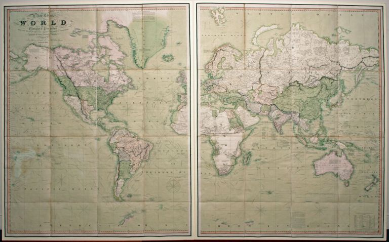 A New Chart of the World On Mercator's Projection With The Track Of The Most Celebrated & Recent Navigators. HENRY TEESDALE, John CO. / DOWER, Publisher.