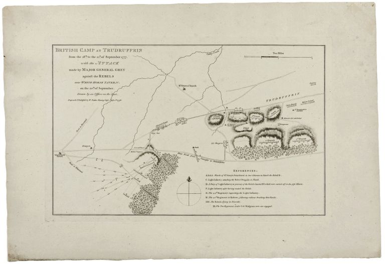 British Camp at Trudruffrin from the 18th. To 21st. of September 1777. with the Attack made by Major General Grey against the Rebels near White Horse Tavern on the 20th. Of September. Drawn by an Officer on the Spot…