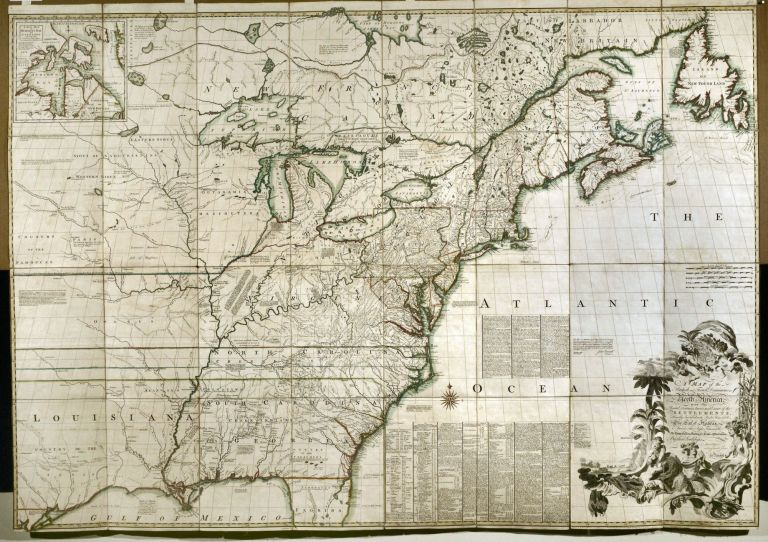 A Map of the British and French Dominions in North America with the Roads, Distances, Limits, and Extent of the Settlements, Humbly Inscribed to the Right Honourable The Earl of Halifax … [Imprint:] Publish'd by the Author Febry 13th 1755 according to Act of Parliament, and Sold by And: Millar opposite Katharine Street in the Strand. John MITCHELL.