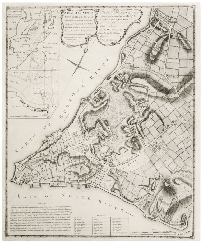 A Plan of the City of New-York & its Environs to Greenwich... Survey'd in the Winter, 1775 Sold by A. Dury, Dukes Court St. Martins Lane. J. MONTRESOR.