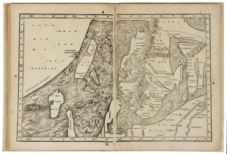 The Complete Suite of Eight sequentially numbered double-page woodcut maps of the Eastern Mediterranean and Scandinavia from Ziegler's  Quae intus continentur …. Jacob ZIEGLER.