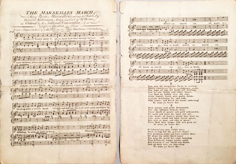 Marche des Marseillois, Chantée sur differans Theatres à Paris. The Marseilles March, Sung by the Marseillois going to Battle, by General Kellerman's Army, instead of Te Deum, as Ordered by the National Convention, & at the Different Theaters in Paris. Theme Catalogue of French Songs. Claude-Joseph ROUGET DE LISLE.