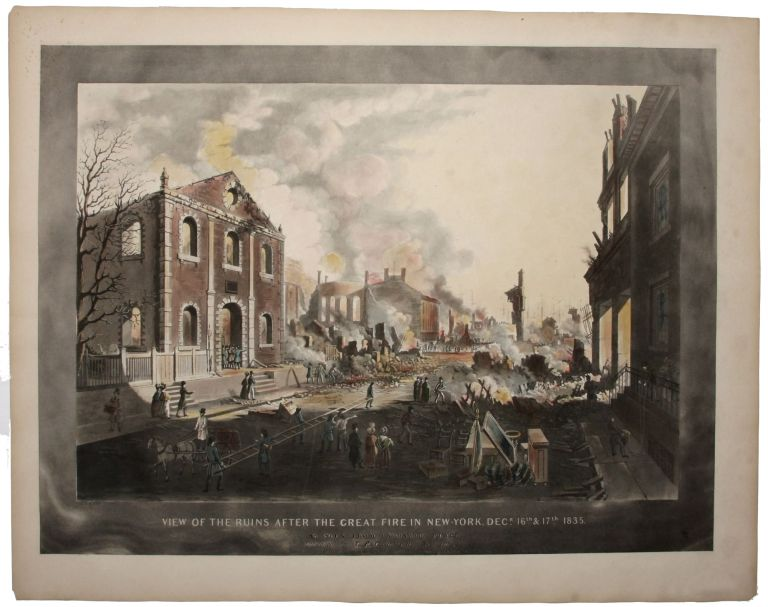 View Of The Ruins After The Great Fire In New-York, Decr. 16th. & 17th. 1835. As Seen From Exhange Place,…. William J. / CLOVER BENNETT, L. P., Engraver, Publisher.