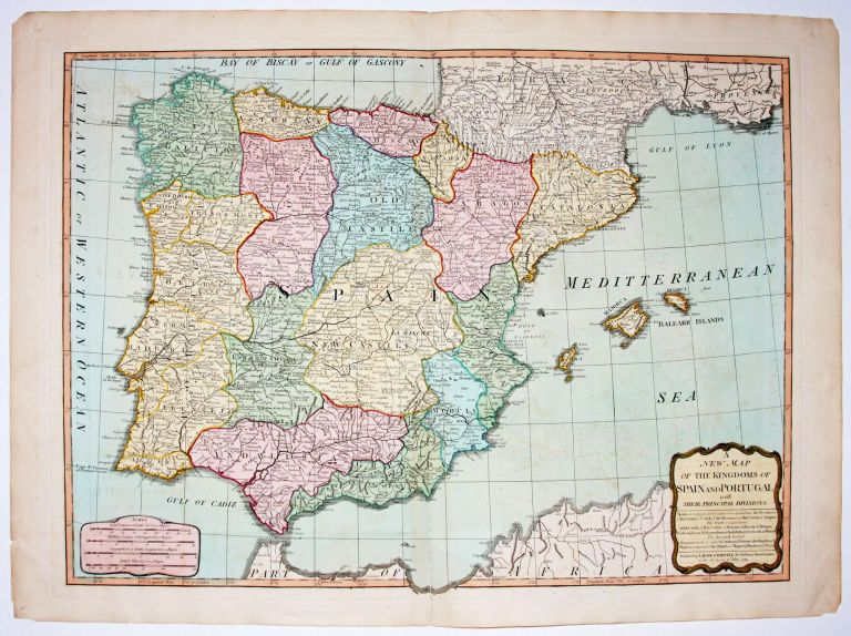 A New Map Of The Kingdoms Of Spain And Portugal with Their Principal Divisions. LAURIE, WHITTLE.