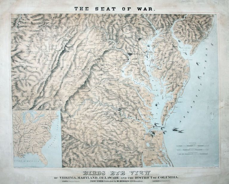 The Seat of War./ Birds Eye View of Virginia, Maryland, Delaware and the District of Columbia. W. SCHAUS.