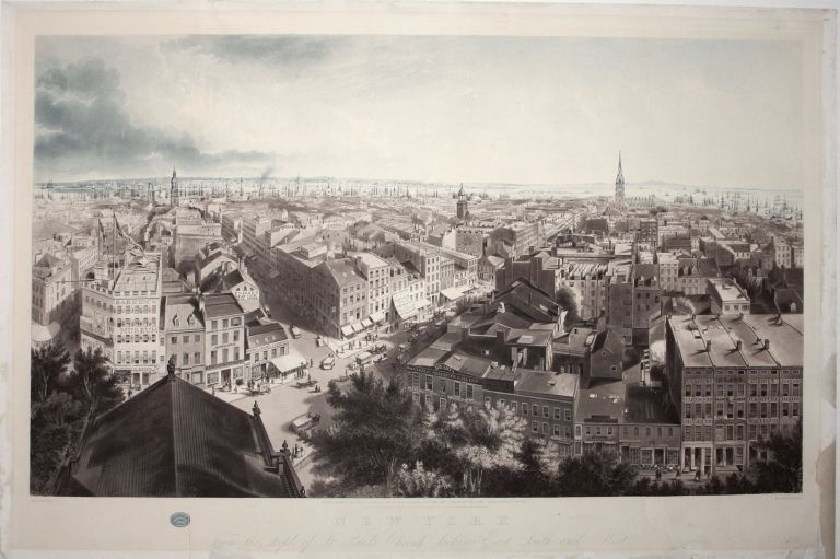 New York From the steeple of St. Paul's Church, looking East, South and West. J. W./ PAPPRILL HILL, Henry L., Henry/ MEGAREY, publisher.