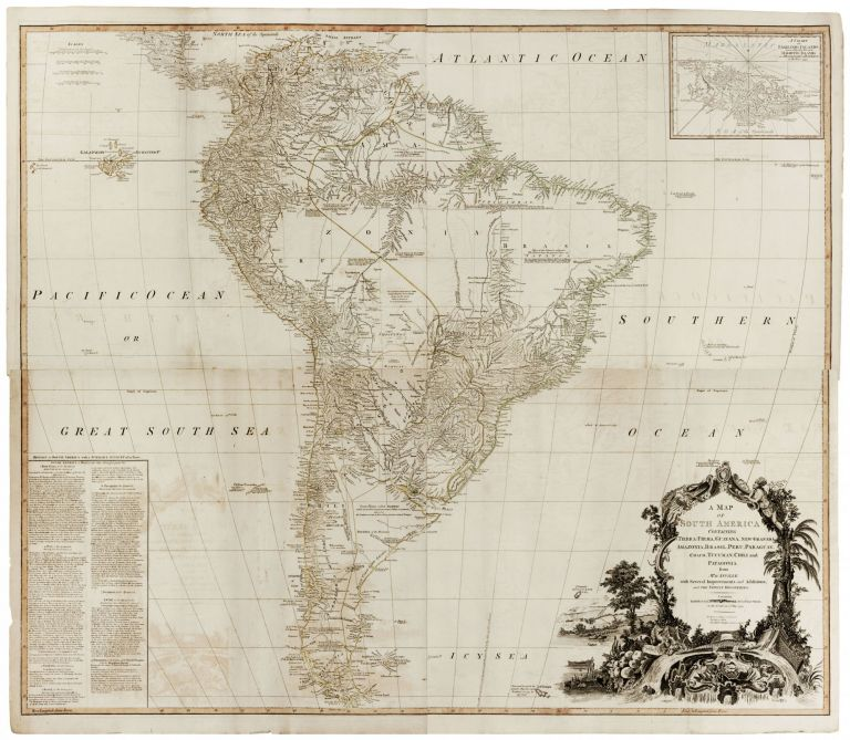 A Map of South America Containing Tierra-Firma, Guayana, New Granada, Amazonia, Brasil, Peru, Paraguay, Chaco, Tucuman, Chili and Patagonia. R. / LAURIE SAYER, WHITTLE.
