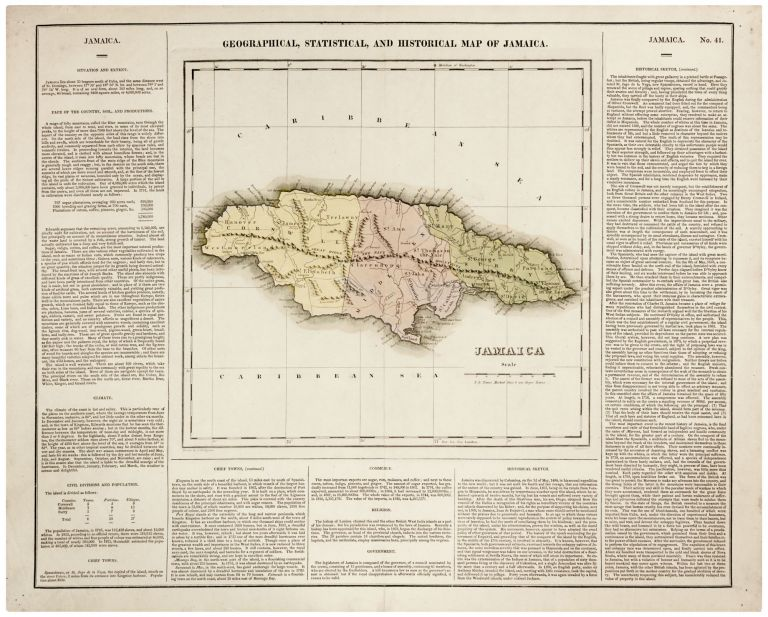Geographical, Statistical, And Historical Map Of Jamaica. H. C. CAREY, I. LEA.
