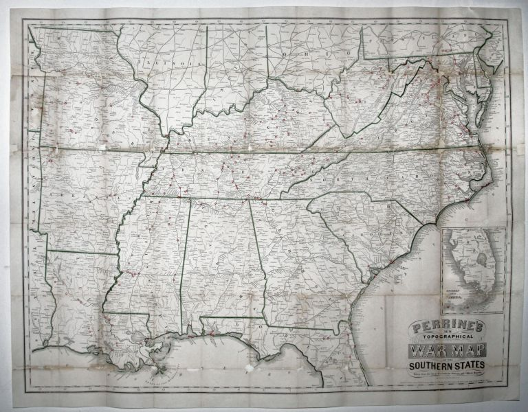 Perrine's New Topographical War Map of the Southern States Taken from the latest government surveys and official reports. [With booklet:] A Concise History Of The War…. C. O. PERRINE.