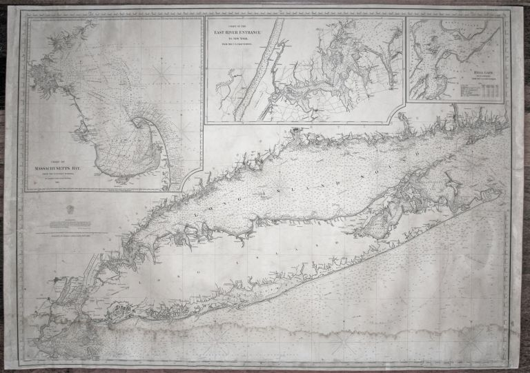 Large, Untitled Chart of Long Island Sound, the Connecticut Shoreline, New York City & Vicinity, All of Long Island. [With three large, titled inset charts:] Chart Of Massachusetts Bay…/ Chart Of The East River Entrance To New York … / Hell Gate, And Its Approaches…. CHARLES COPLEY, SONS.