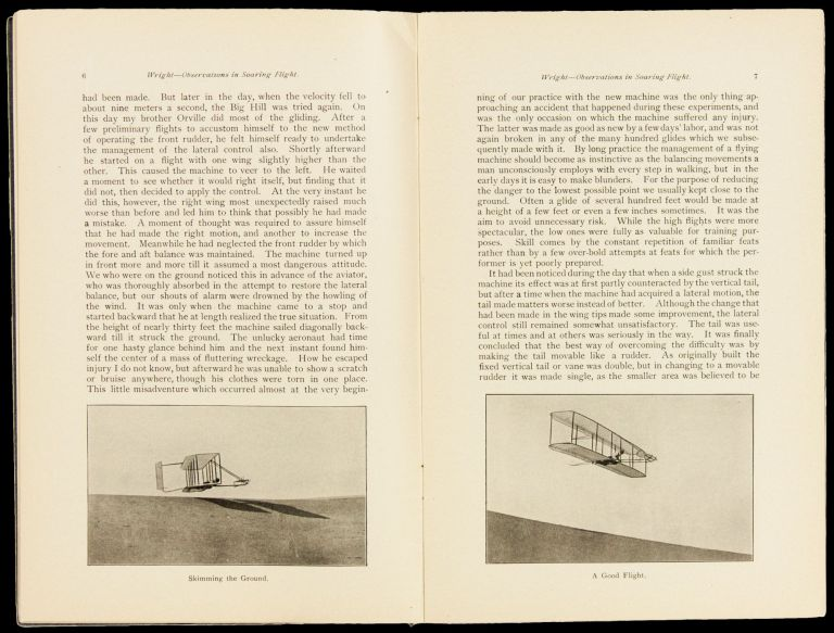 Experiments and observations in Soaring flight. By Mr. Wilbur Wright / Dayton Ohio/ Printed in advance of the Journal of the Western Society of Engineers / Vol. III No. 4 August 1903. Wilbur Wright, Orville.