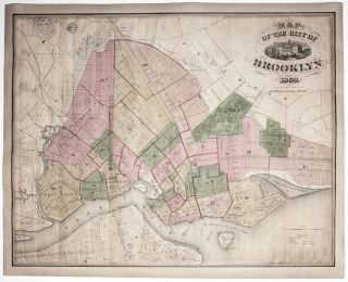 Map Of The City Of Brooklyn 1869. William G. A. BROWN / BISHOP, publisher