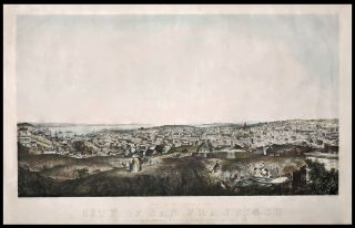View Of That Portion Of The City Of San Francisco Seen From The Residence Of N. Larco Esqre. Green St. Telegraph Hill Looking South 1859. Eugene / KUCHEL CAMERER, DRESEL, artist, lithographers.