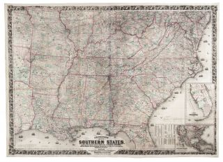 J. H. COLTON'S MAP OF THE SOUTHERN STATES. MARYLAND, DELAWARE, VIRGINIA, KENTUCKY, TENNESSEE, MISSOURI, NORTH CAROLINA, SOUTH CAROLINA, GEORGIA, ALABAMA, MISSISSIPPI, ARKANSAS, LOUISIANA, AND TEXAS. SHOWING ALSO PART OF ADJOINING STATES & TERRITORIES LOCATING THE FORTS & MILITARY STATIONS OF THE U. STATES & SHOWING ALL THE RAILROADS, R.R. STATIONS & OTHER INTERNAL IMPROVEMENTS…. Joseph H. COLTON.