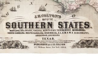 J. H. COLTON'S MAP OF THE SOUTHERN STATES. MARYLAND, DELAWARE, VIRGINIA, KENTUCKY, TENNESSEE, MISSOURI, NORTH CAROLINA, SOUTH CAROLINA, GEORGIA, ALABAMA, MISSISSIPPI, ARKANSAS, LOUISIANA, AND TEXAS. SHOWING ALSO PART OF ADJOINING STATES & TERRITORIES LOCATING THE FORTS & MILITARY STATIONS OF THE U. STATES & SHOWING ALL THE RAILROADS, R.R. STATIONS & OTHER INTERNAL IMPROVEMENTS…