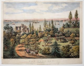 New York Bay. From Bay Ridge, L.I. Artist, Lithographer, Fanny F. / CURRIER PALMER, IVES