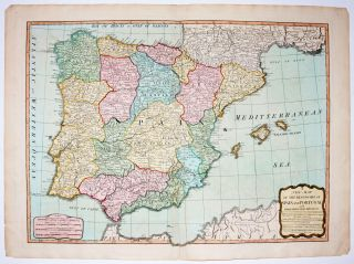 A New Map Of The Kingdoms Of Spain And Portugal with Their Principal Divisions. LAURIE, WHITTLE