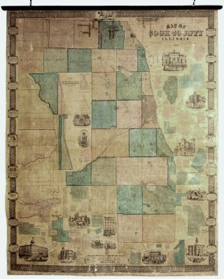 Map Of Cook County Illinois. W. L./ S. H. BURNHAMS FLOWER, J. VAN VECHTEN, publishers