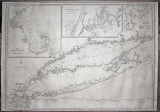 Large, Untitled Chart of Long Island Sound, the Connecticut Shoreline, New York City & Vicinity,...