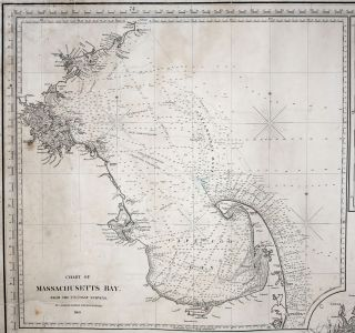 Large, Untitled Chart of Long Island Sound, the Connecticut Shoreline, New York City & Vicinity, All of Long Island. [With three large, titled inset charts:] Chart Of Massachusetts Bay…/ Chart Of The East River Entrance To New York … / Hell Gate, And Its Approaches…