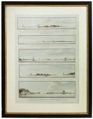 Five Profile Views from Various Points in New York Harbor, Including One Showing the City...